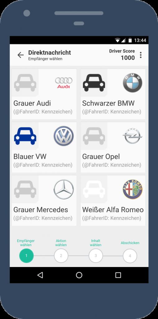 Ersters Screen des interaktiven Prototypen: Auswahl der Empfängers