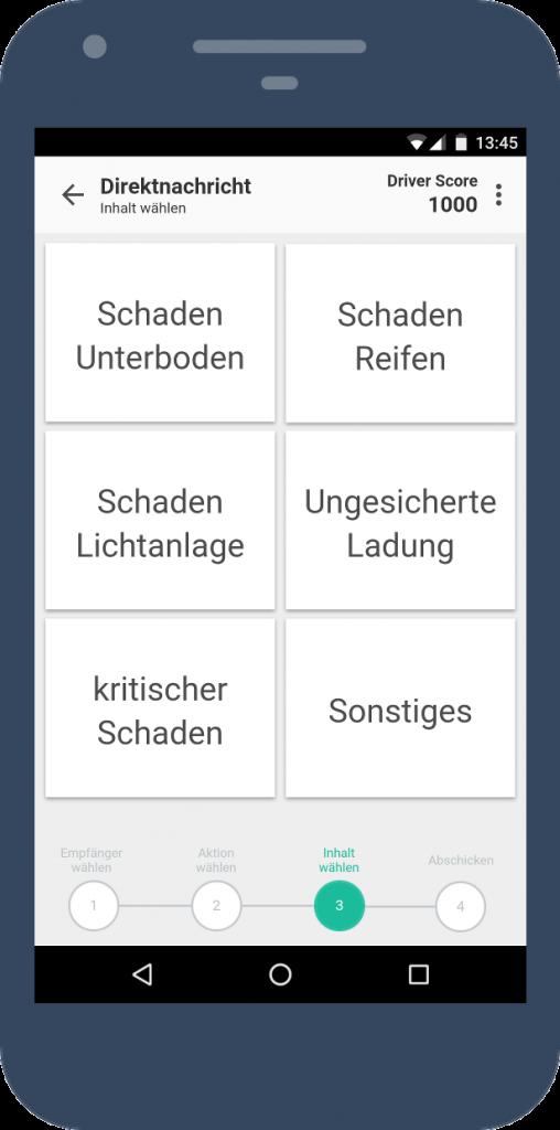 Dritter Screen des interaktiven Prototypen: Auswahl des Nachrichteninhalts